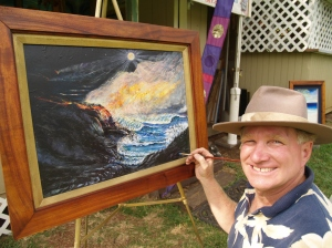 Aelbert Aehegma paints at Tour Guide Hawaii rental office; photo by Donnie MacGowan