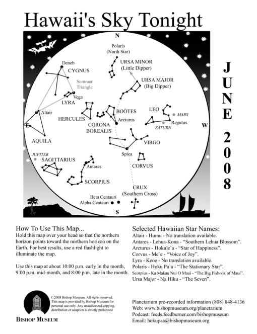 Bishop Museum Sky Map for Hawaii, June 2008