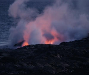 Lava from Kilauea Enters the Sea at Waikupanahu: Photo by Donnie MacGowan