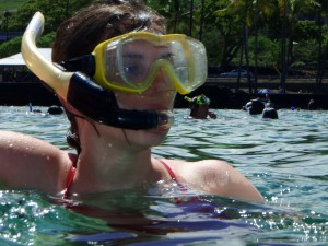 Amanda Maus Snorkeling at Kahalu'u Beach: Photo by Donald MacGowan
