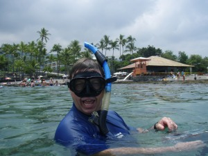 Bart Hunt Snorkeling at Kahalu'u Bay: Photo by Donnie MacGowan