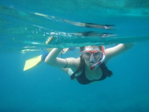 Liz Maus Snorkeling at Hounaunau Bay, Hawaii: Photo by Donnie MacGowan