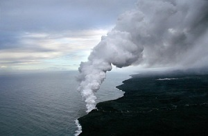 Undated USGS photo of the Waikupanaha Ocean Entry, Kilauea Volcano, HI