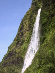 800-foot waterfall in Waipi'o Valley: Photo by Donald MacGowan