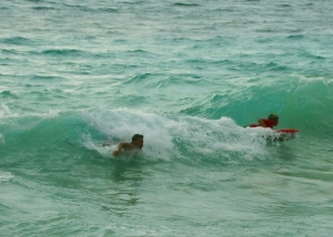 Boogie Boarders At La'aloaBeach, Kona Hawaii: Poto by Donne MacGowan