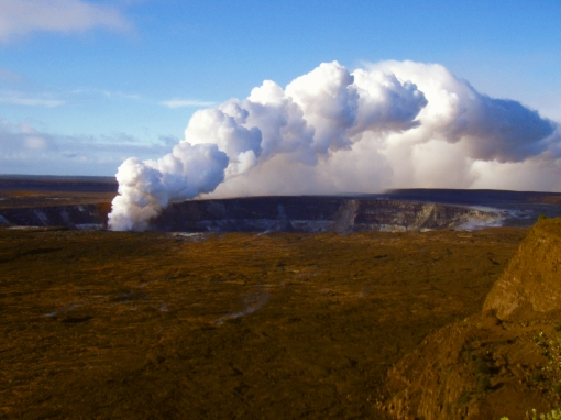 The Eruption of Halema'uma'u as seen from Steaming Bluff, HVNP, August, 2008: Photo by Donald MacGowan