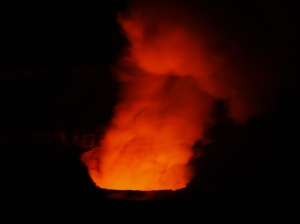 Halema'uma'u Crater at night from Jagger Museum, Hawaii Volcanoes National Park: Photo by Donnie MacGowan