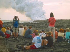 Lava Viewing At Waikupanaha, Puna Hawaii: Photo by Donald MacGowan