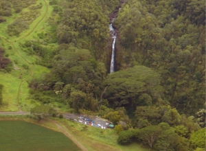 Akaka Falls from the Air: Photo by Donald MacGowan