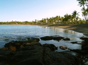 Anaeho'omalu Bay from the south: Photo by Donald MacGowan