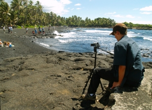 Bradford Thomas Macgowan Filming at Punalu'u Beach, Ka'u Hawaii: Photo by Donald Bradford MacGowan