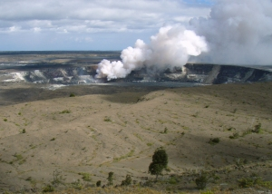 View of Halema'uma'u from Jagger Museum, HVNP: Photo by Donald MacGowan