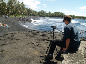 Bradford MacGowan Filming at Punalu'u Black Sand Beach, Ka'u Hawaii: Photo by Donald MacGowan