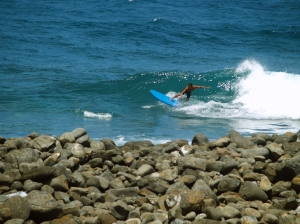 Keokea Park and a Very Brave Surfer Dude: Photo by Donald MacGowan