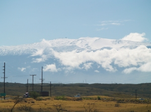 Mauna Kea From Pu'u Kohola; note observatories on the summit,almost 14,000 feet above: Photo by Donald MacGowan