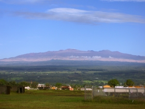 Astronomical Observatories on the Summit of Mauna Kea, From Downtown Hilo: Photo by Donnie MacGowan