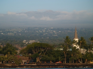 Evening Light on Hualalai and Kailua Kona: Photo by Donnie MacGowan