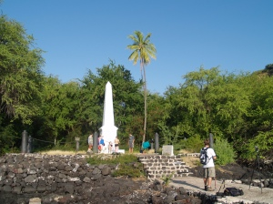 The Captain James Cook Monument at Ka'awaloa Village in Kealakekua: Photo by Donnie MacGowan