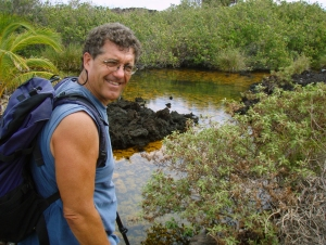 Donnie MacGowan amongst the Golden Ponds of Ke-awa-iki, Big Island Hawaii: Photo by Bart Hunt