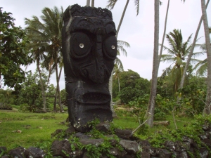Modern Carved Pohaku Iki in Puna: Photo by Donnie MacGowan