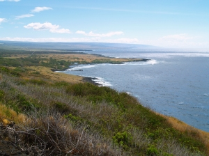 Coastline of Ka'u from near Na'alehu, Big Island: Photo by Donnie MacGowan