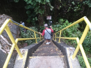 Frank Descends Into Kaumana Cave: Photo by Donald MacGowan