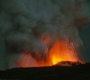 Littoral Explosions as Lava Enteres the Ocean Near Royal Gardens: Photo by Donald B. MacGowan