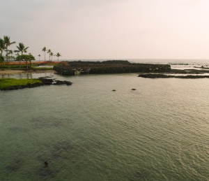 Hapaiali'i Heiau During Reconstruction; note Ke'eku Heiau in Background: Photo by Donnie MacGowan