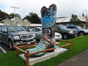 Waimea Celebrates its Ranching Roots With The Cowboy Boot Statue: Photo by Donald B. MacGowan