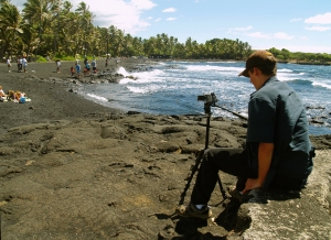 Bradford MacGowan Filming at Punalu'u Beach: Photo By Donnie MacGowan