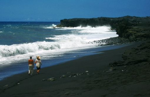 Kaimu Black Sand Beach near the Village of Kalapana: Photo by Donald B. MacGowan