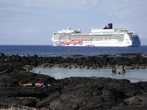 Norwegian Cruise Lines 'Spirit Of America' Cruises Along The Kona Coastline: Photo by Donnie MacGowan
