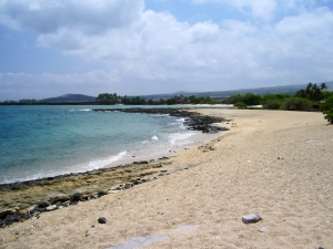 Kekaha Kai State Park Contains a Series of Brilliant, Huge Sandy Beaches, Yet Because of the Bumpy 2 Mile Drive In, Remains Almost Unknown To Visitors: Photo by Donald B. MacGowan
