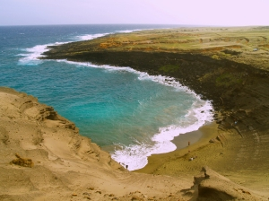 The Beautiful Green Sand Beach at South Point of the Island of Hawaii is Reached by an Easy 2 1/4 Mile Hike: Photo by Donald B. MacGowan