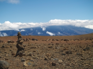 Looking South from Mauna Loa to Mauna Kea from Near Lake Wai'au: Photo by Donnie MacGowan