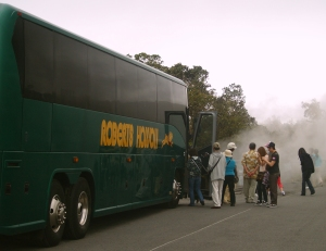 Tourists Load Aboard a Large Motor Coach for a Tour of Hawaii Volcanoes National Park: Photo by Donnie MacGowan