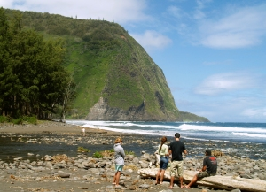 Hikers Pause at the Stream Along the Beach, near the Mouth of Waipi'o Valley: Photo by Donald B. MacGowan