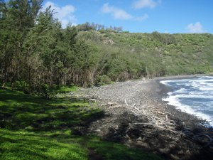 Looking Across the Black Sand Beach at Polulu Valley Towards Pololu Overlook At The End Of Highway 19: Photo by Donald B. MacGowan