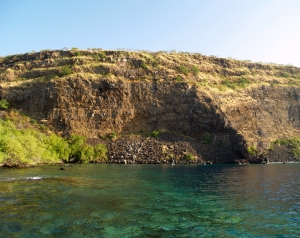 Huge Portions of Hawaii Island Have Simply Broken Off and Slid Into The Sea in Giant Landslides; Here is the Escarpment from Onesuch Landslide on Kealakekua Bay: Photo by Donald B. MacGowan