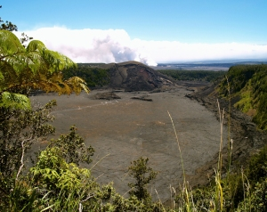 Looking Across Kilauea Iki to Halema'uma'u Eruption; The Kilauea Iki Trail Can Be Seen Etched Across the Floor of the Crater: Photo by Donald MacGowan
