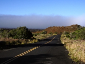 Mauna Loa Hides Behind a Fog Bank on the Saddle Road: Donnie MacGowan