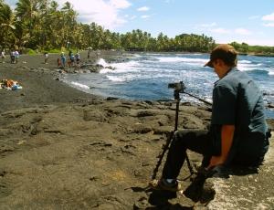 Bradford MacGowan Filming at Punalu'u Beach: Photo by Donnie MacGowan