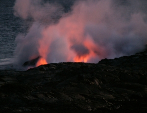 Ghostly Steam and Glow of Lava at Waikupanaha: Photo by Donald B. MacGowan