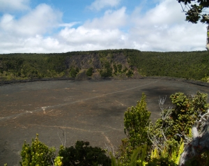 Kilaue Iki Crater and Trail from Pu'u Pua'i Overlook: Photo by Donald B. MacGowan