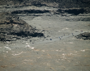 Looking Down From the Rim of Kilauea Iki Crater as Hikers Cross the Floor of the Lava Lake: Photo by Donnie MacGowan