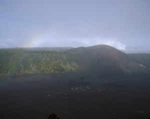 Misty View of Kilauea Iki Crater and Rainbow: Photo by Donald B. MacGowan