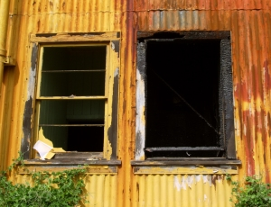 The Burnout Shell of A Sugar Refining Warehouse in Pahala: Phoito by Donald B. MacGowan