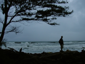 Bart Hunt at Pololu--Numerous Squall and Storms Coming Off the Ocean Make the Weather at Pololu Very Exciting: Photo by Donald B. MacGowan