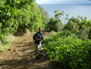 Bart Hunt at Pololu Valley--The Trail Back Up Out of The Valley Seems Much Longer and Steeper than On the Way Down; Be Sure To Leave Plenty Of Time and Energy To Climb Back Up: Photo by Donnie MacGowan