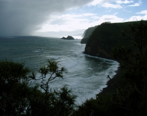 Approaching Storm at Pololu Valley; Due to Frequent Rain Squalls Off the Pacific Ocean, Rain Gear is Highly Recommended For This Hike: Photo by Donald B. MacGowan